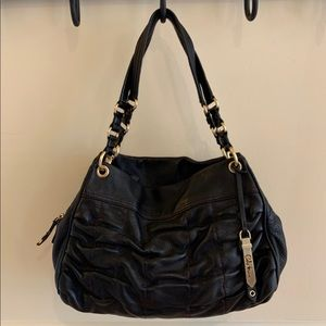Cole Haan black leather ruched bag